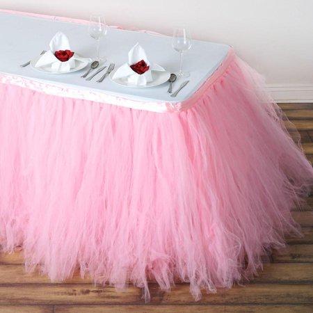 14FT Rose Quartz 8 Layer Tulle Tutu Pleated Table Skirt Baby Shower Decoration](Tulle Table Skirt)