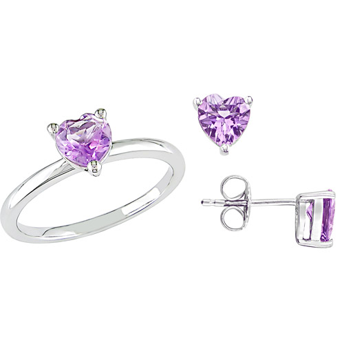 2-4/5 Carat T.G.W. Amethyst Sterling Silver Heart Ring and Earrings