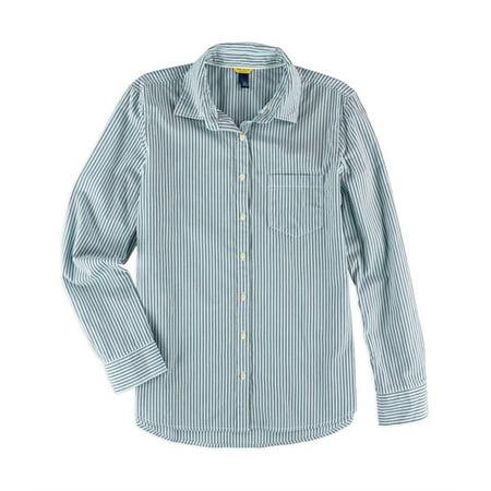 Juniors Striped Pocket Button Up Shirt