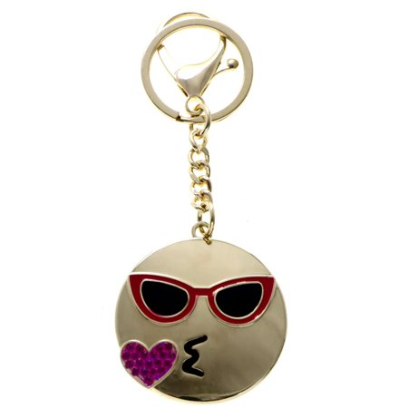 Cool Sunglasses Emoji Blowing Kiss HASHTAG Split-Ring-Keychain Gold-Tone Pink - Cool Hashtags For Halloween