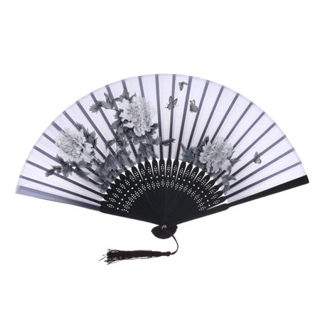 Purple Bamboo (SHOPFIVE Chinese Vintage Hand Fans Hand Held Bamboo Silk Butterfly Flower Folding Fans)