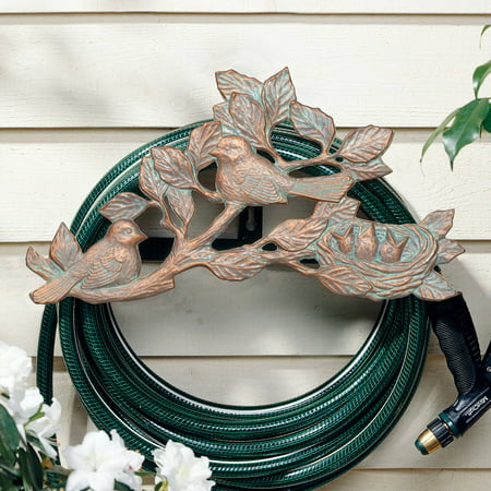 Chickadee Hose Holder, Copper Verdigris