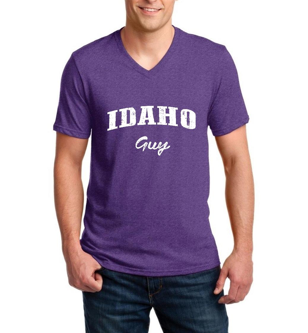 J_H_I ID Guy Idaho Flag Boise Yellowstone Map Home of Vandals University of Idaho Men V-Neck Shirts Ringspun