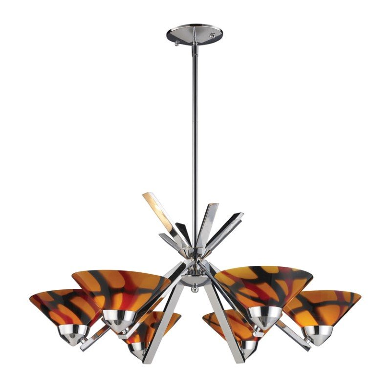 Refraction -6 Light Chandelier Polished Chrome
