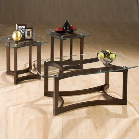 jofran 3 piece glass top coffee table set in bellingham brown. Black Bedroom Furniture Sets. Home Design Ideas