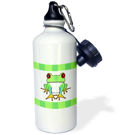 - 3dRose Tree Frog with Stripes, Sports Water Bottle, 21oz