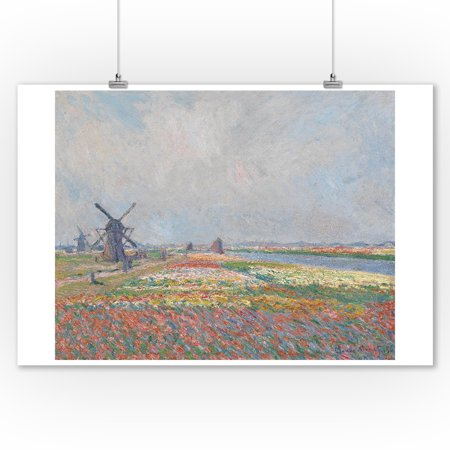 Fields Classic Tin - Tulip Fields near The Hague - Masterpiece Classic - Artist: Vincent Van Gogh c. 1886 (9x12 Art Print, Wall Decor Travel Poster)