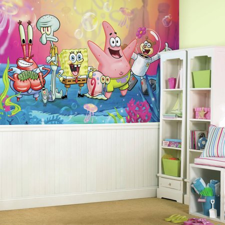 RoomMates Decor SpongeBob Squarepants XL Chair Rail Prepasted - Spongebob room decals