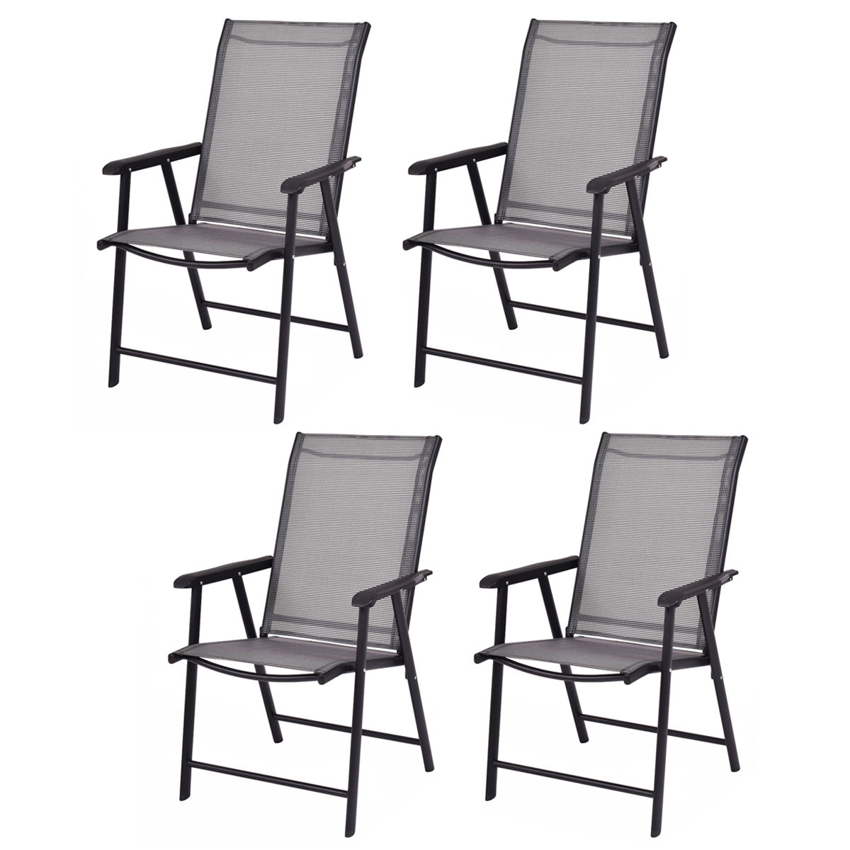 Costway Set Of 4 Outdoor Patio Folding Chairs Camping Deck Garden Pool  Beach W/Armrest