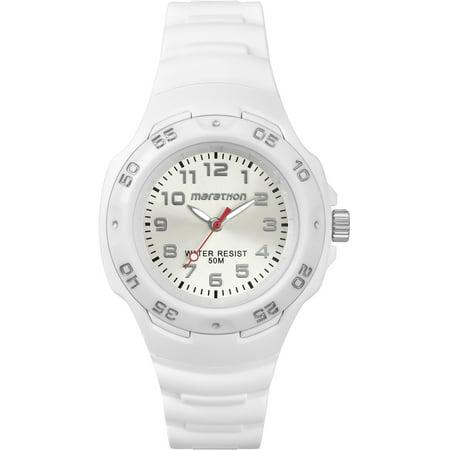 Women's Analog Mid-Size White Watch, Resin Strap ()