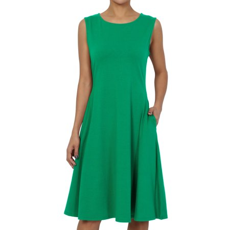 TheMogan Women's S~3X Sleeveless Stretch Cotton Jersey Fit and Flare Dress W Pocket