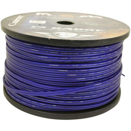 Cadence 14 AWG Gauge 20 Foot Blue Car Speaker Wire, True Gauge Wire