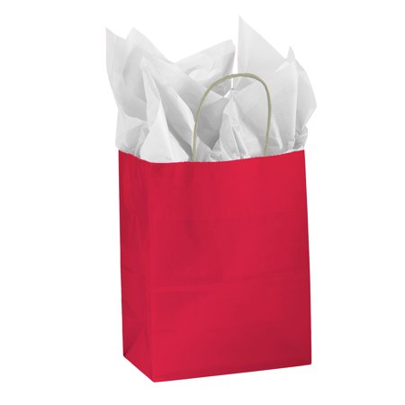 Medium Glossy Red Paper Shopping Bags - Case of 25](Red Paper Bags)