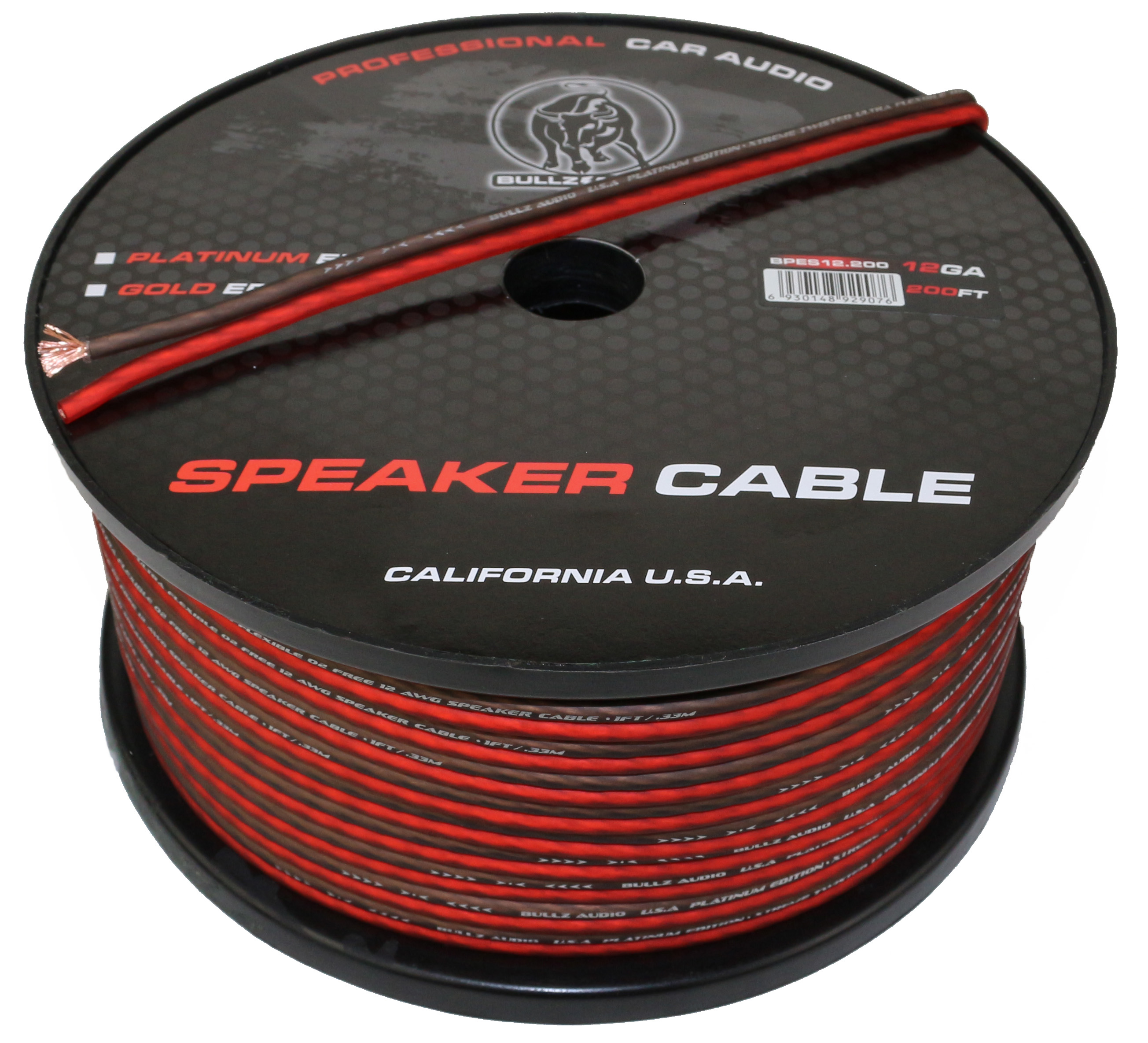 Bullz Audio BPES12.200 12 Gauge 200 FT Flexible Speaker Car/Home Cable Wire -Red
