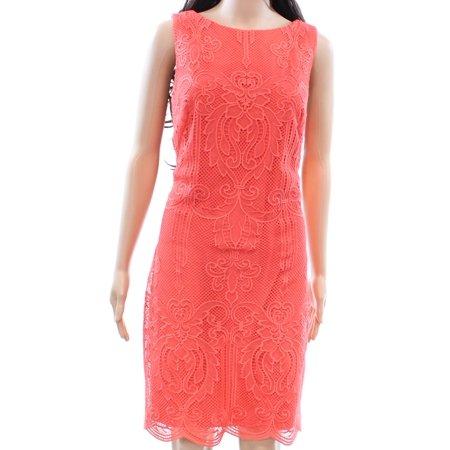 Lauren Ralph Lauren NEW Orange Womens Size 14 Lace Overlay Sheath - Dress Overlay