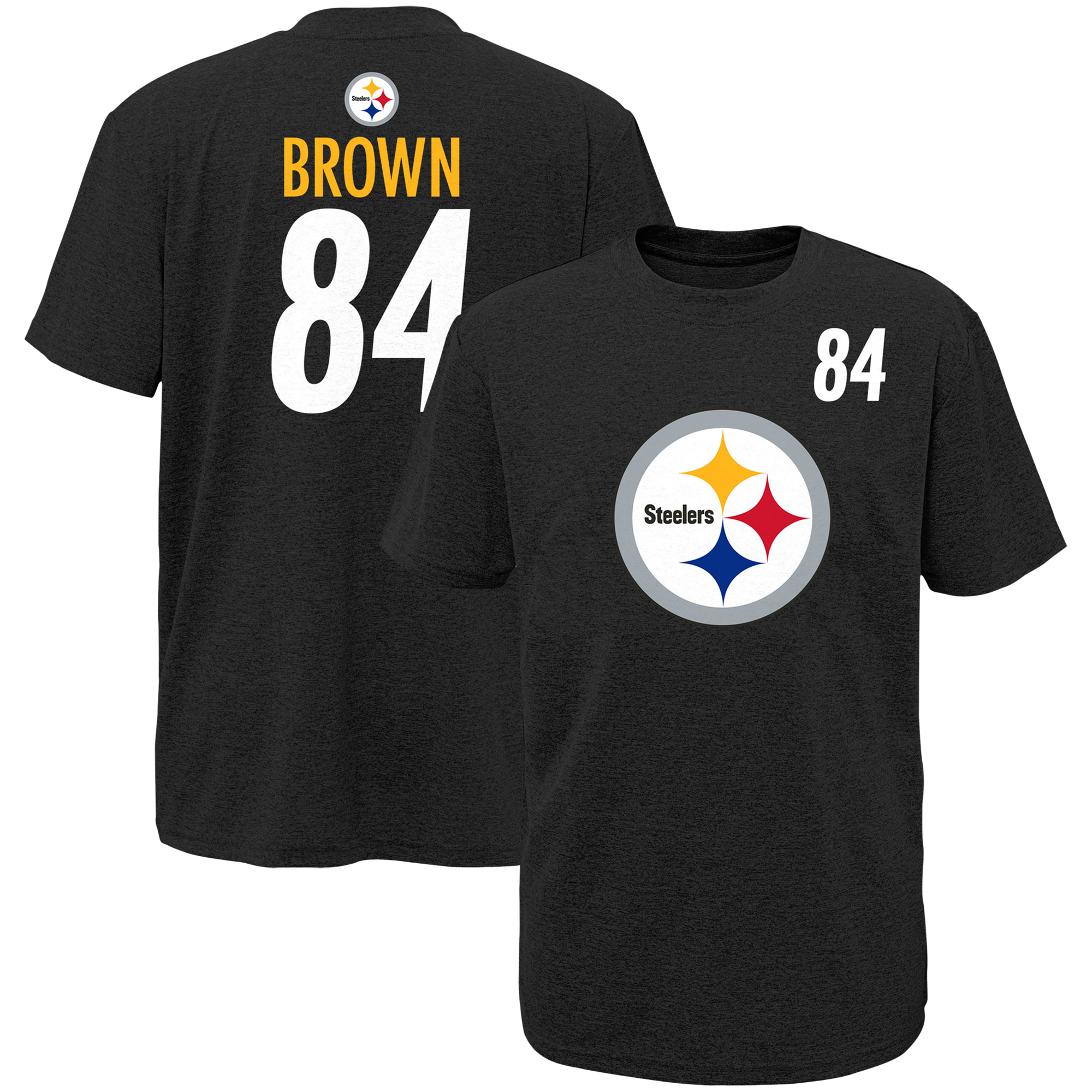 Youth Antonio Brown Black Pittsburgh Steelers Player Name & Number T-Shirt