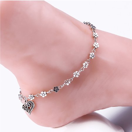 Lea Anklet With Vintage Style Heart and - Flower Wave Bracelet