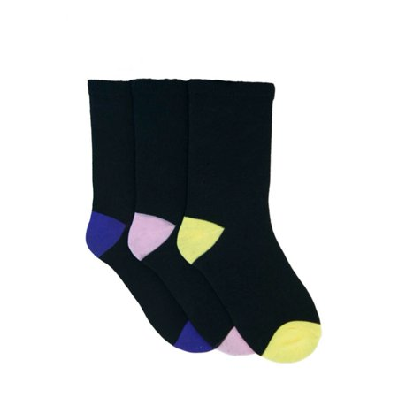 Womens/Ladies Plain Socks With Brightly Coloured Heel And Toe (Pack Of 3) - image 1 of 1