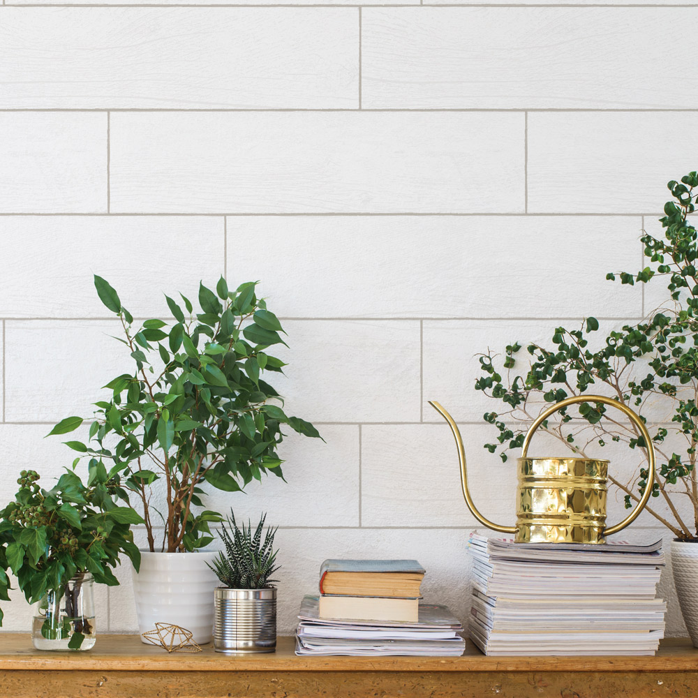 Textured Shiplap Planks White-Washed Peel and Stick Removable Wallpaper