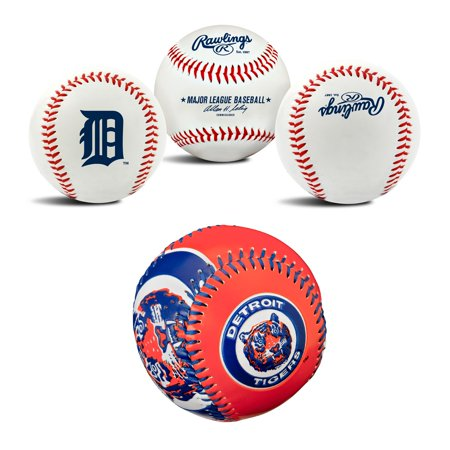 Detroit Tigers MLB Retro and Team Logo Authentic Baseballs Bundle 2 Pack