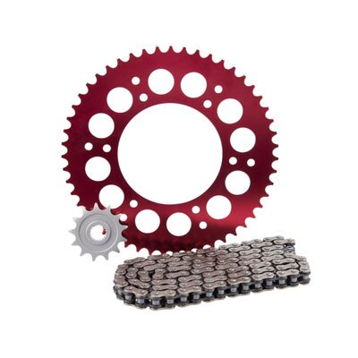 Primary Drive Alloy Kit & O-Ring Chain Red Rear Sprocket - Fits: Honda CRF450R 2004-2008 ()