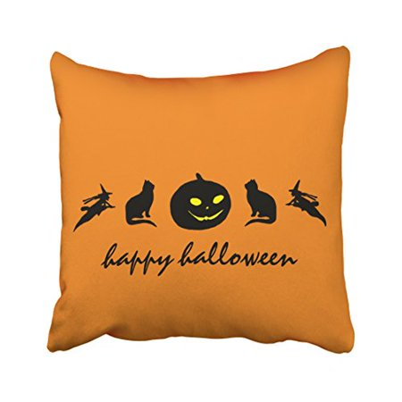 WinHome Vintage Fashion Happy Halloween Pumpkin Cat Witch Silhouette Pattern Polyester 18 x 18 Inch Square Throw Pillow Covers With Hidden Zipper Home Sofa Cushion Decorative Pillowcases - Halloween Pumpkin Patterns Cat