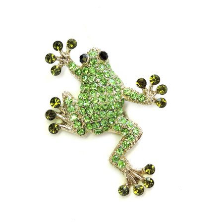 Gorgeous Green Crystal Lucky Frog Pin Brooch T58