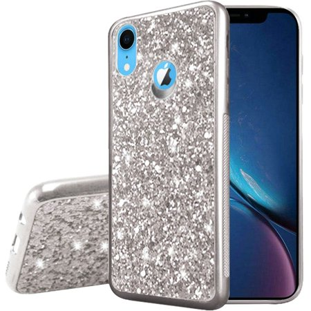 Apple iPhone XR Case, by Insten Frozen Glitter Chrome Hard Snap-in Case Cover For Apple iPhone XR - Silver