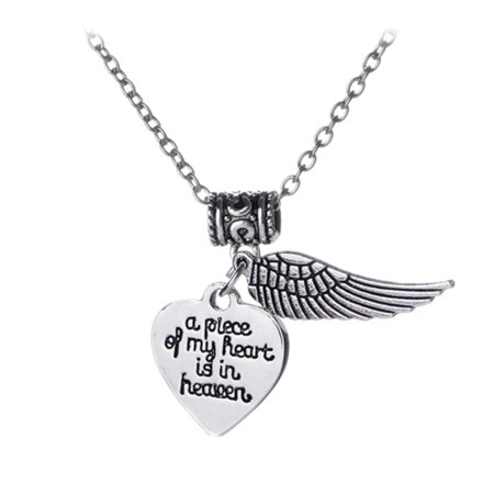A Piece of My Heart Is in Heaven Pendant Angel Wing Necklace Anti-Tarnish, -