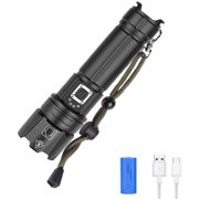 100000 Lumens Powerful Flashlight, Rechargeable LED Zoomable Waterproof Flashlight with 10800 mAH Battery and USB, 5 Modes Super Bright Searchlight for Outdoor Sport Hiking Hunting Camping