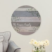 Personalized Family Name Circle Wood Plaque
