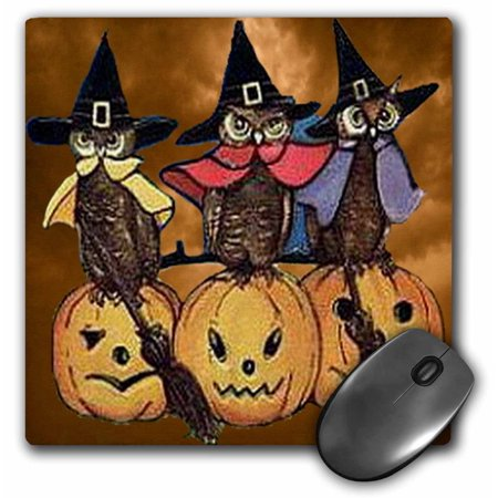 3dRose Vintage Owls on Jack o Lanterns, Mouse Pad, 8 by 8 inches