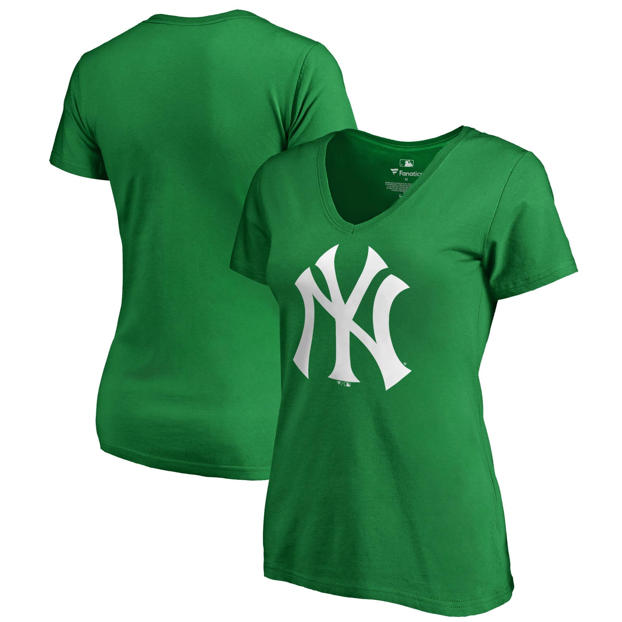 New York Yankees Fanatics Branded Women's St. Patrick's Day White Logo Plus Size V-Neck T-Shirt - Kelly Green