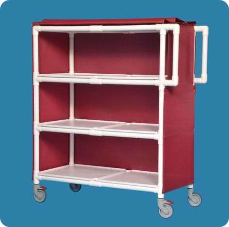Jumbo Deluxe Linen Cart with Three Shelves - LC243MM - Maroon Mesh Cover