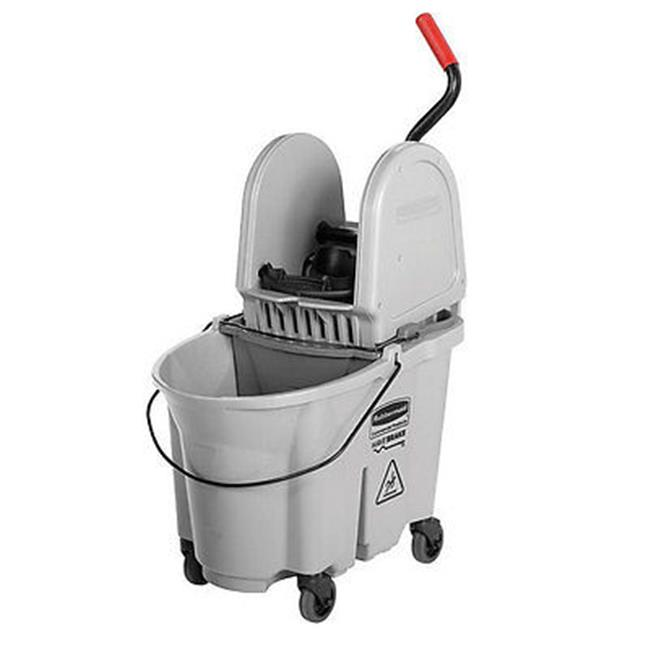 Rubbermaid Commercial Products 1863899 35 qt Executive Wave Brake Down-Press Mop Bucket, Gray