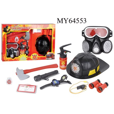 9 Pcs Firefighter Role Playing Toys Fire Extinguisher Gas Mask Firefighters Badge Set For Children Color Random