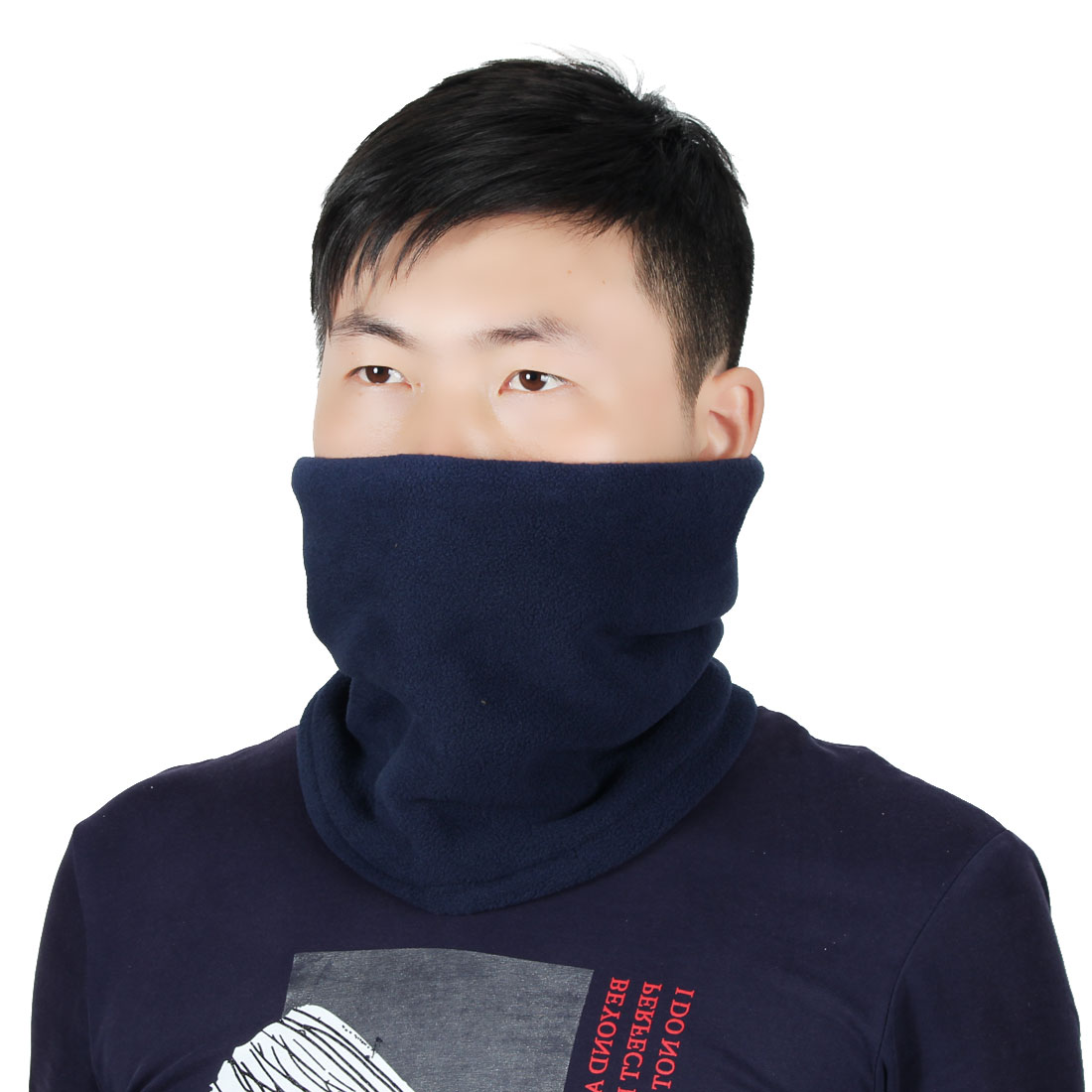 Adjustable Face Mask Winter Neck Tube Protector Outdoor Cycling Scarf Navy Blue by