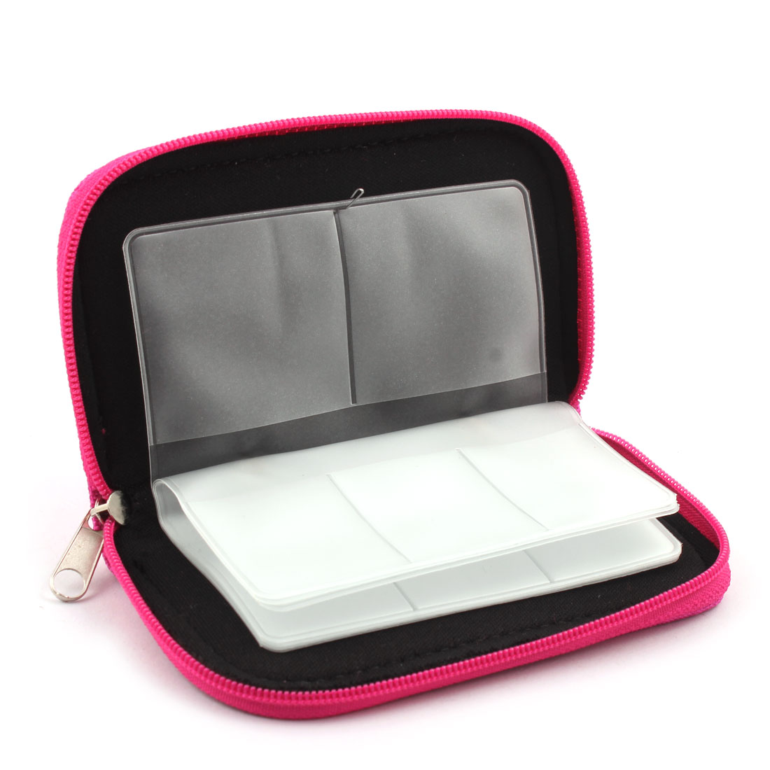 Unique Bargains Nylon 22 Slots Storage Carrying Pouch Box Fuchsia for CF Micro SD Memory Card