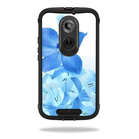 Mightyskins Protective Vinyl Skin Decal Cover for OtterBox Defender Moto X (2nd Gen 2014) Case cover wrap sticker skins Blue Flowers