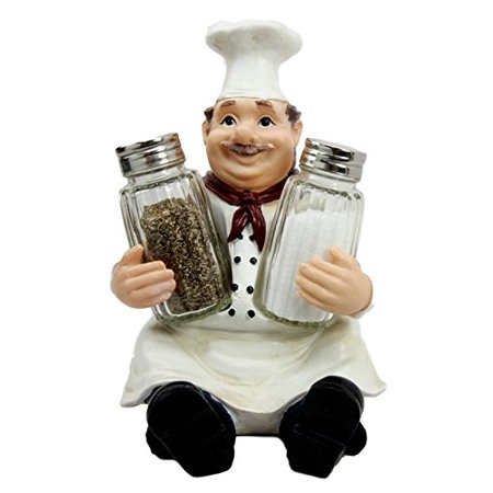 Atlantic Collectibles Italian Head Chef Mario Salt Pepper Shakers Holder