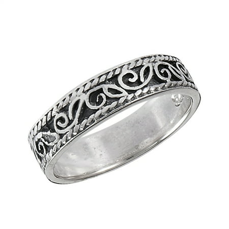 Filigree Scroll Tibetan Bali Swirl Ring New .925 Sterling Silver Band Size 10