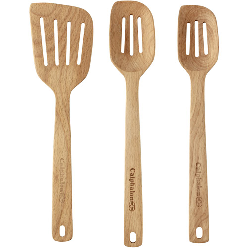 Cooking with Calphalon Beechwood 3-Piece Slotted Utensil Set