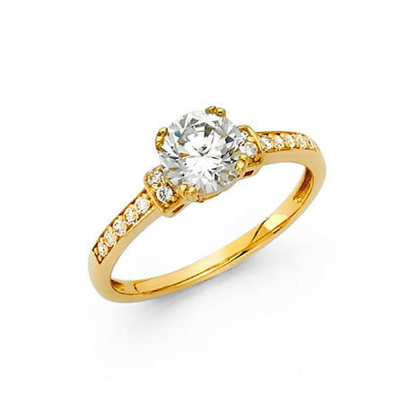 FB Jewels 14K Yellow Gold Round Cubic Zirconia CZ Engagement Ring w/Round Side Stones Size 5.5