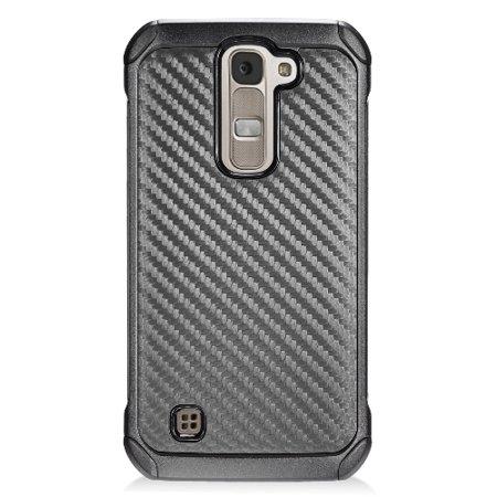 LG TRIBUTE-5/K7/TREASURE CASE, BLACK CARBON FIBER RUGGED CASE COVER FOR LG  TRIBUTE-5, LG TREASURE, LG K7, ESCAPE 3 (LS675, MS330, L51G, L51AL, L52VL)