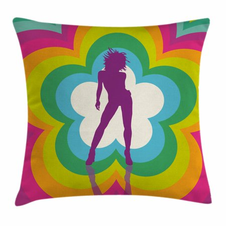 70s Party Decorations Throw Pillow Cushion Cover, Vibrant Colorful Flower with Dancing Woman Psychedelic Kaleidoscopic, Decorative Square Accent Pillow Case, 16 X 16 Inches, Multicolor, by Ambesonne](70s Flower Power Fashion)