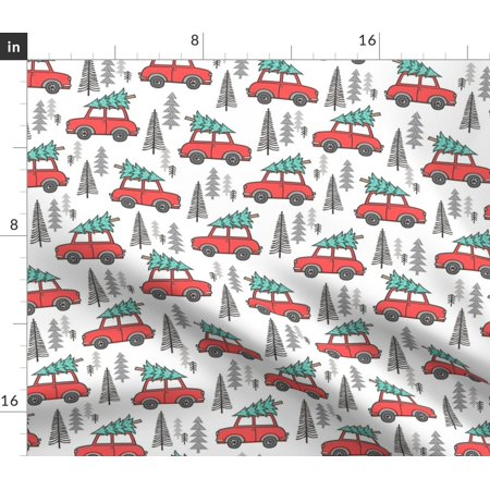 Christmas Car Tree Trees Xmas Holiday Woodland Fabric Printed by Spoonflower BTY ()