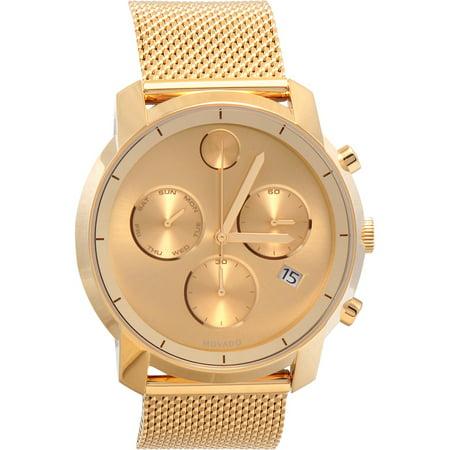 movado movado men s swiss chronograph bold gold mesh bracelet