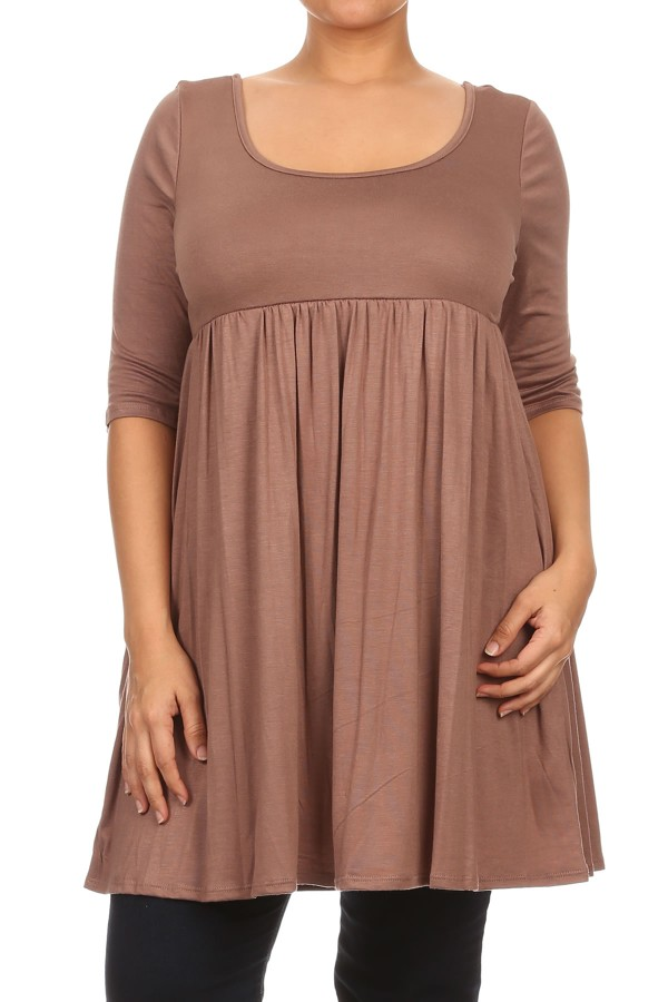 Women's PLUS 3/4 sleeves solid tunic top