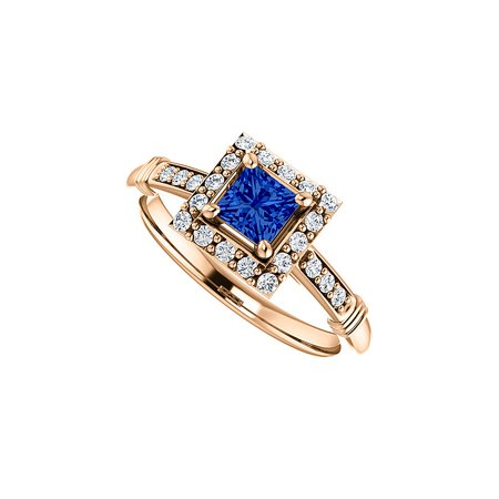 CZ Accented Square Sapphire Halo Ring 14K Rose Gold - image 2 de 2