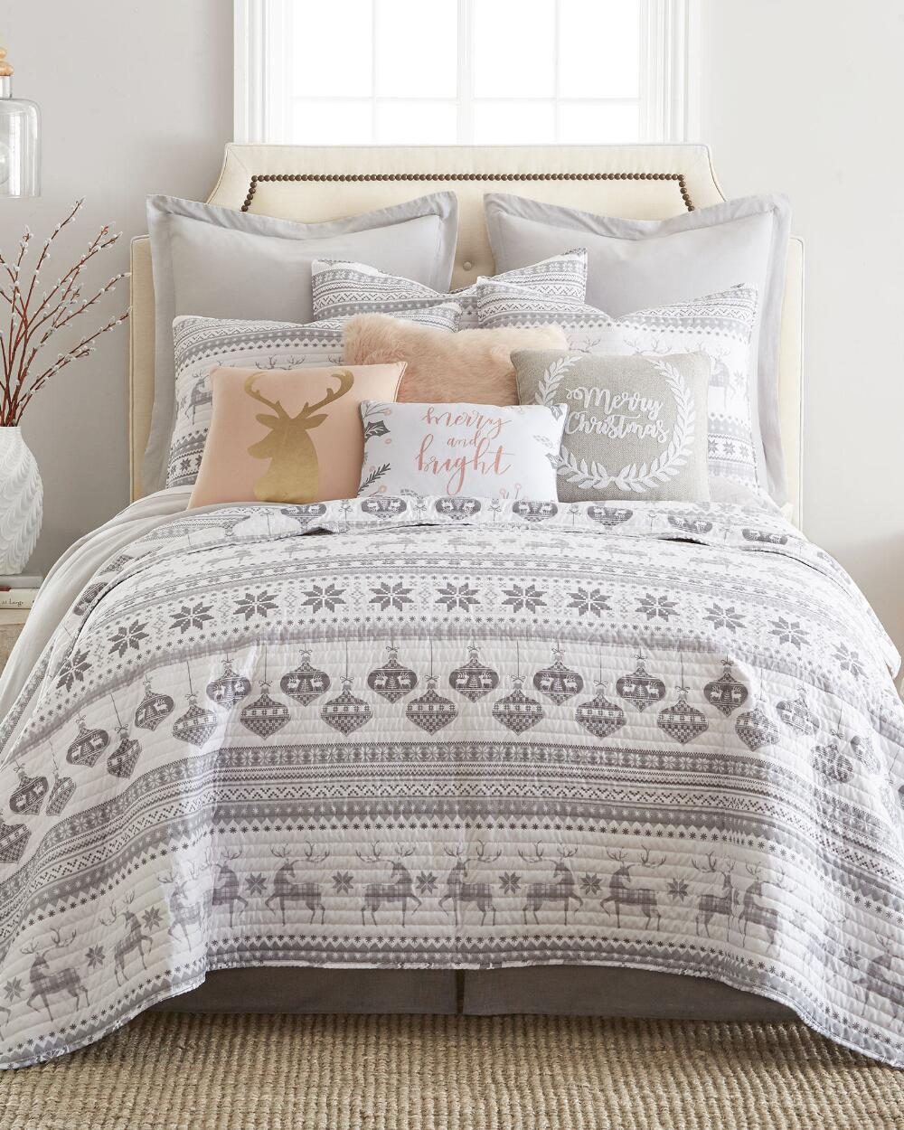 Christmas Silver Bells Reindeer Gray Holiday King Quilt & Sham Set (3 Piece Set) by Holiday Home